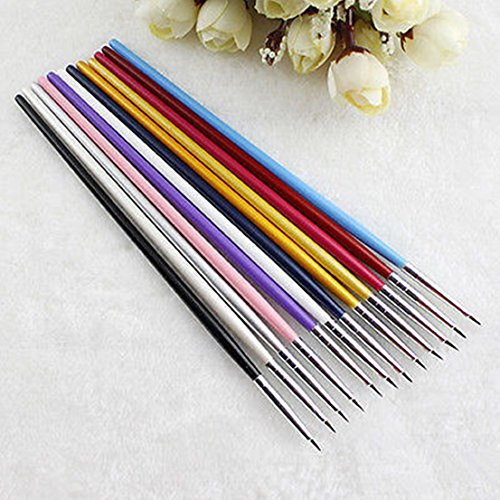 Pleasing Drawing UV Gel Style 12pcs Acrylic Nail Art Tips Brush - Uv Sunglasses 500