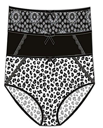 Delta Burke Women's Stretch Microfiber Brief Panties 3 Pack (Black Leopard - Black - Black Spanish, ()