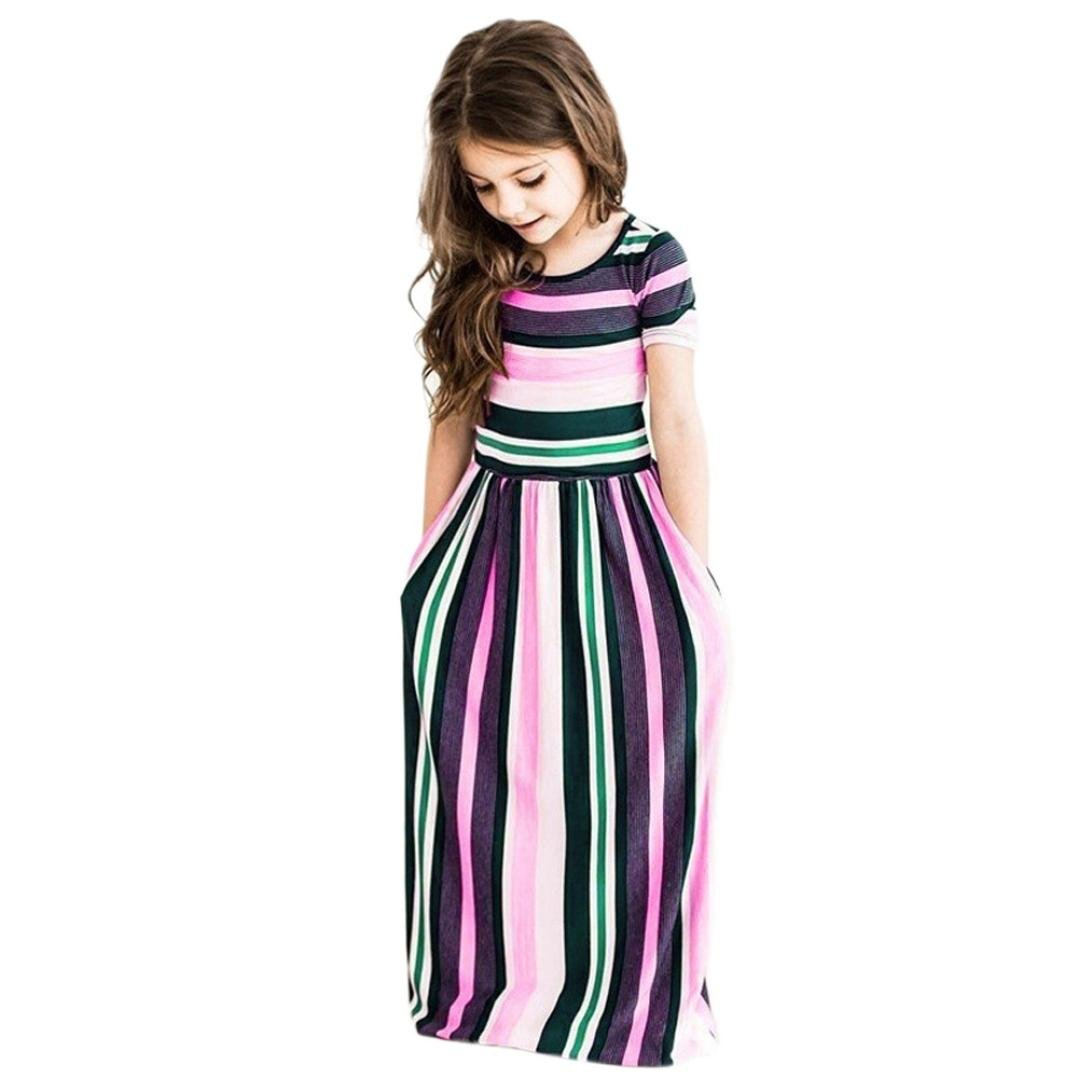 Internet_Kids Clothes Girls Dresses For 2-8 Years,Internet Toddler Baby Girls Striped Long Dress Kids Party Beachwear Dresses Outfits Girls Party Dresses (2-3years, Blue) Internet_8810