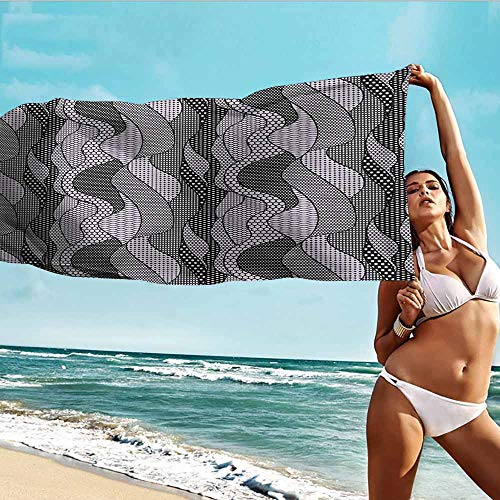 (TT.HOME Beach Chair Towel,Gothic Abstract Lace Style Waves and Lines Intricate Pattern Retro Victorian Design,for Family Guest Bathrooms Gym,W55x27L, Dimgrey)