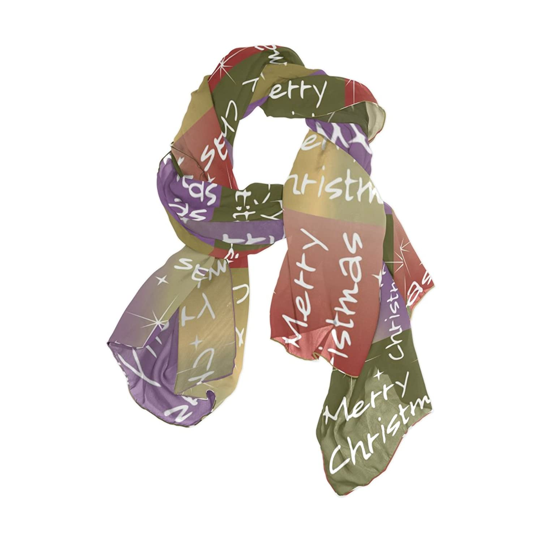 Senya Women's Fashion Large Long Sheer Silk Scarf Shawl Wrap, Merry Christmas Pattern