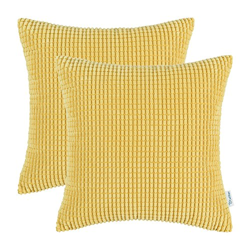 Yellow Striped Pillow - CaliTime Pack of 2 Comfy Throw Pillow Covers Cases for Couch Sofa Bed Comfortable Supersoft Corduroy Corn Striped Both Sides 24 X 24 Inches Gold Yellow