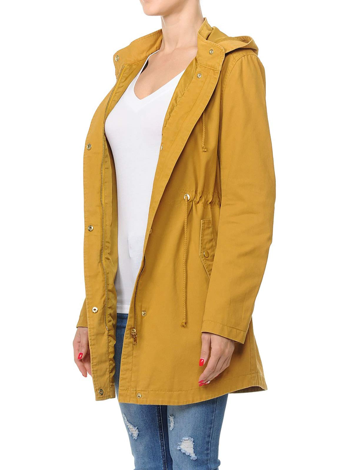 Instar Mode Women's Trendy Cotton Oversized Hooded Anorak Jacket Olive L by Instar Mode (Image #3)