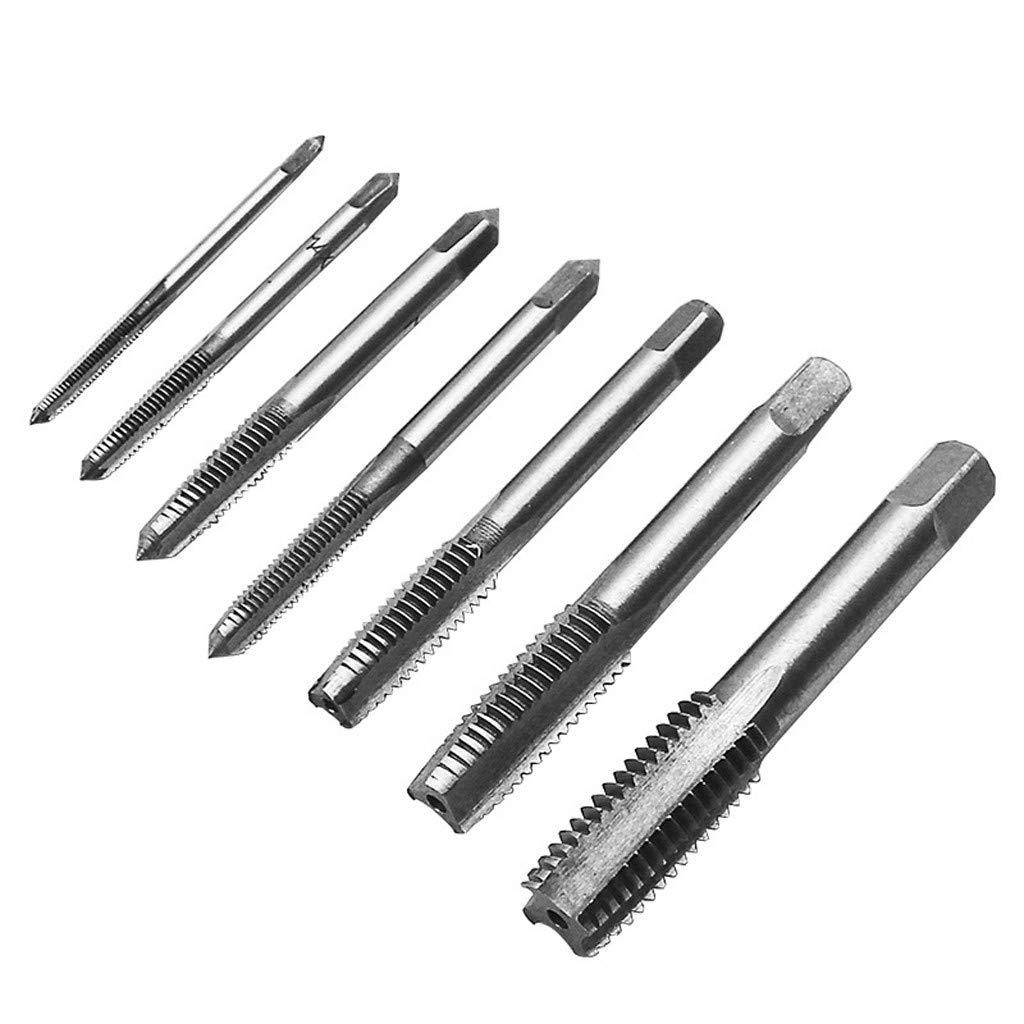 Baulody 7PCS Metric Taper HSS Mini Hand Screw Thread Tap Cutting Drill Bits Set M3-M12 (Silver) by Baulody (Image #4)