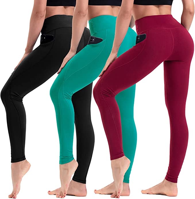 Anwell Sport Leggings Damen Leggins 7//8 High Waist mit Tasche Yogaleggings