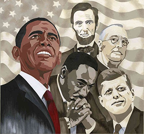 9-Feet wide by 8-Feet high. Prepasted robust wallpaper mural from a photo of:Making History, Inspirational. Artwork by Ruth Baker. Featuring Obama, King, Kennedy, Roosevelt, Lincoln. Easy to ()