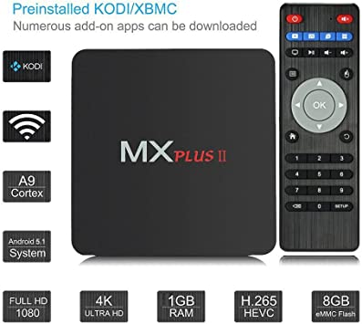 Ruichenxi MX Plus II RK3229 Quad Core Android 4.4 Smart TV Box con 1 GB de RAM de 8 GB ROM 4K * 2K H.265 soportados WiFi Streaming Media Player: Amazon.es: Electrónica