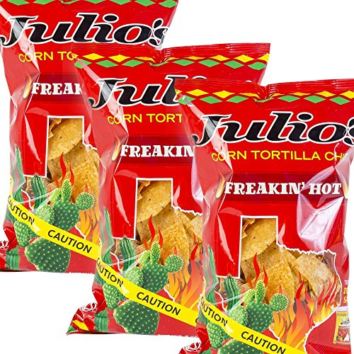 9 Ounce Bags Pack (Julio's Corn Tortilla Chips Pick a Pack - Three 9 oz Bags - You Pick Your Flavor Pack - Regular Seaoned and Freakin Hot Chips (3 Hot))