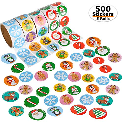 Bedwina Bulk Holiday Stickers - 500 Christmas Holiday Sticker Rolls Assortment, 5 Rolls of 100, 2 Inch, Assorted Colors and Styles