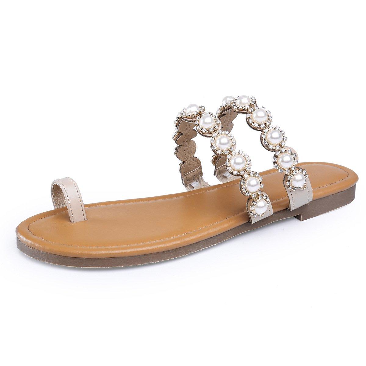 ZHZNVX Flache Unterseite Clip Pin coole Hausschuhe Rom clip Toe Sandalen Flachbild-Clip Pin coole Hausschuhe stilvolle Frau Schuhe die Talsohle mit Rollrand