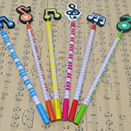 PUNK Music Note and Piano Keyboard Themed Pencils Cute Set of 6 Colorful