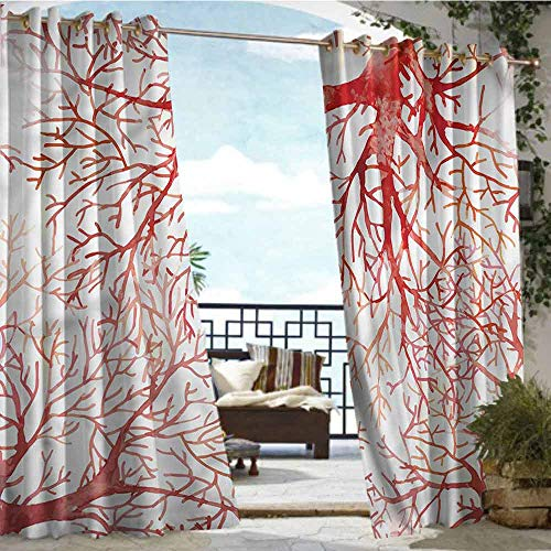 Outdoor Balcony Privacy Curtain Coral,Watercolor Branchs Fall,W108 xL84 Thermal Insulated Water Repellent Drape for Balcony