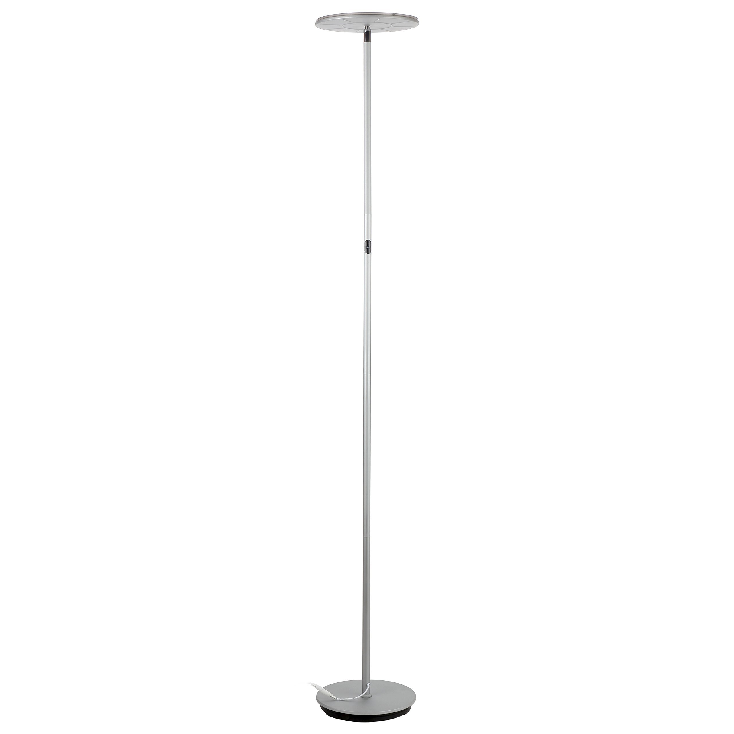 Brightech SKY LED Torchiere Floor Lamp - Energy Saving, Dimmable Adjustable Lamp, Reading Lamp- Modern Tall Standing Pole Uplight Lamp Light for Living Room, Dorm, Bedroom, and Office -Platinum Silver