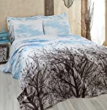 LaModaHome Luxury Soft Colored Twin and Single Bedroom Bedding 100% Cotton Single Coverlet (Pique) Thin Coverlet Summer/Tree Sky Bird Animal Nature Plant Cloud Blue and Brown