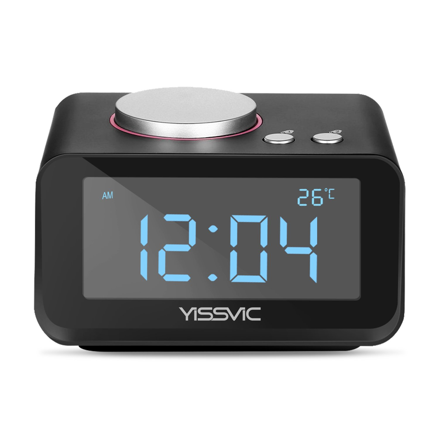 """YISSVIC Digital Alarm Clock with 3.2"""" Display FM Radio AUX-IN Speaker Indoor Thermometer 2 USB Charger Port Snooze and Dual Alarm for Bedroom Black"""