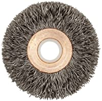 "Weiler Copper Center Wire Wheel Brush, Round Hole, Steel, Crimped Wire, 2"" Diameter, 0.014"" Wire Diameter, 1/2-3/8"" Arbor, 1/2"" Bristle Length, 3/8"" Brush Face Width, 20000 rpm"