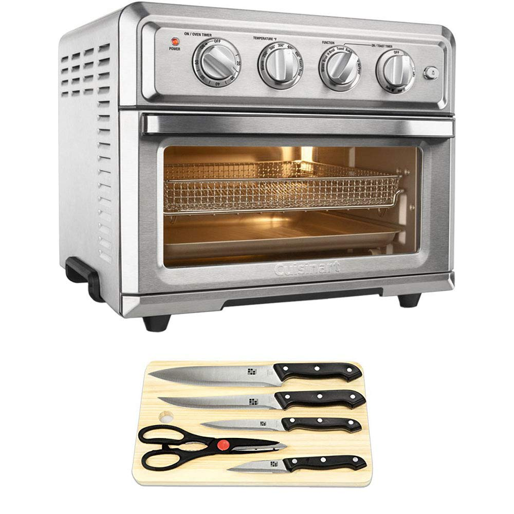Cuisinart Convection Toaster Oven Air Fryer with Light Silver (TOA-60) with Cuisinart Triple Rivet Collection 3-Piece Knife Set & Premium Two Tone Bamboo Cutting Board by Cuisinart