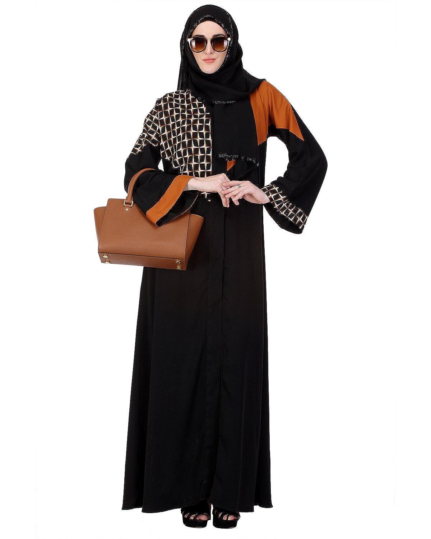 Modest Forever Brick Red & Printed Schwarz Abaya