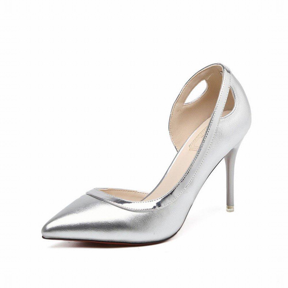 SchuheES Silberne Damenschuhschuhe Hochhackige Damenschuhschuhe Silberne Dünn mit Den OL-Einzelschuhen Frauen C 37 7e0967