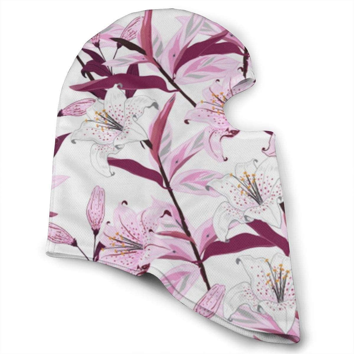 CAClifestyle Blooming Lily Flowers Pattern Unisex Windproof Balaclavas Full Face Mask Hood