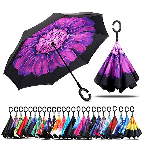 Violet Ball (Owen Kyne Windproof Double Layer Folding Inverted Umbrella, Self Stand Upside-down Rain Protection Car Reverse Umbrellas with C-shaped Handle (New Violet Flower))