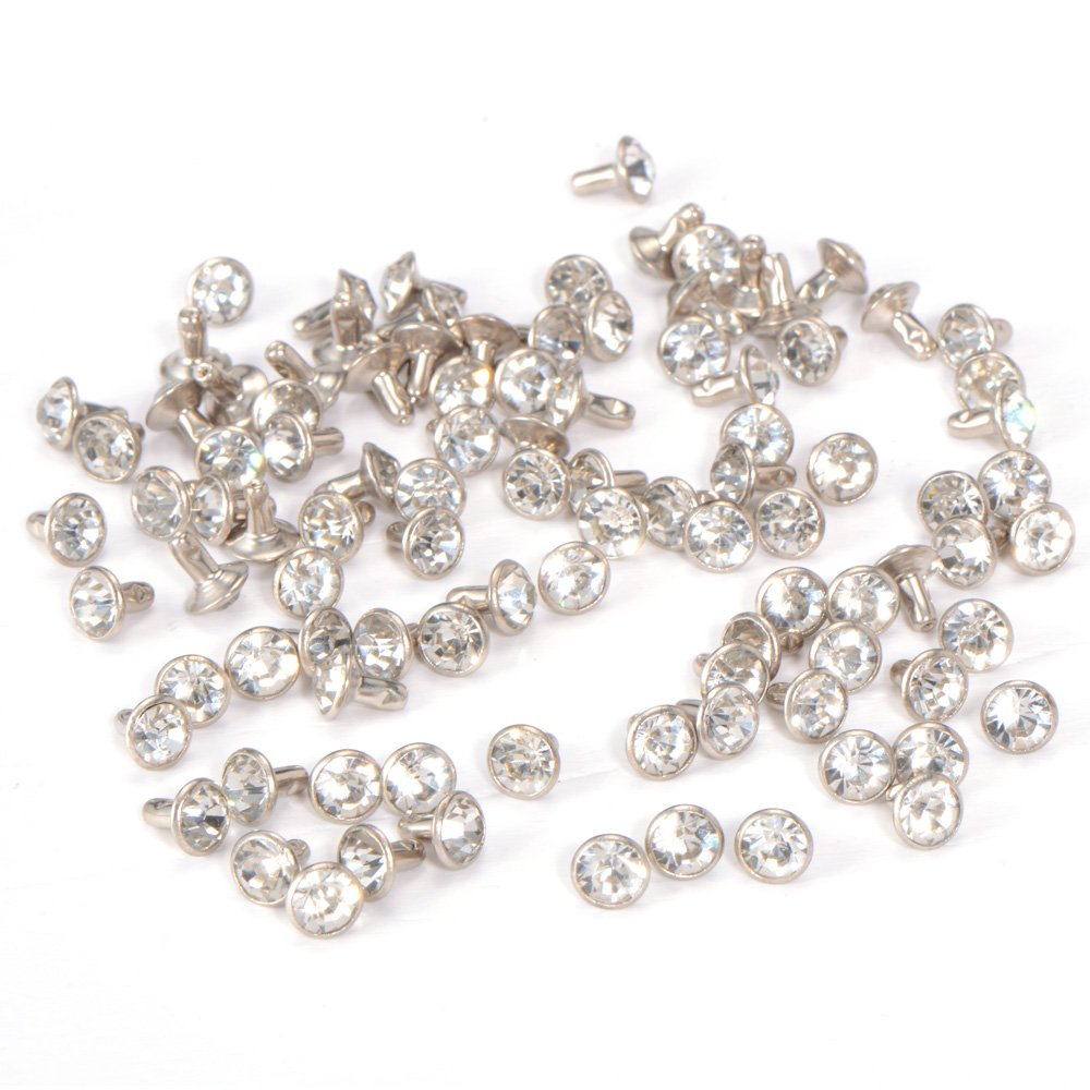 100pcs 7mm Diamante Diamond Clear Silver Crystal RIVET STUDS Rock Leather Bag. SurePromise Limited