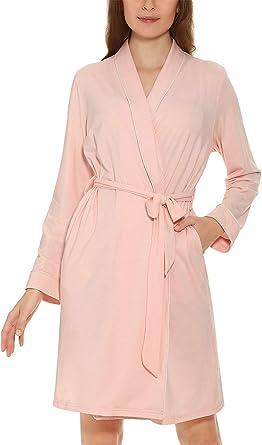 Vestido Largo para Mujer Kimono Algodón Ella Vintage Calentamiento En Bata De Baño Manga Larga Cuello En V con Cinturón Pijama Camisón: Amazon.es: Ropa y accesorios