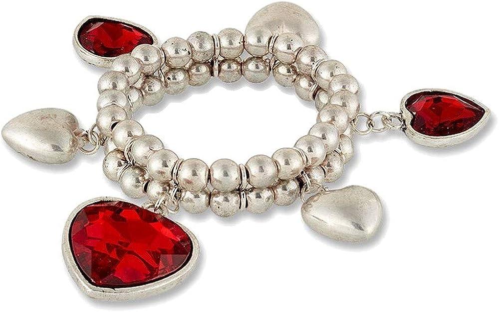 Pulsera con dos hileras de perlas plateadas con colgante de corazón.