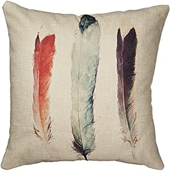 "Decorbox Cotton Linen Decorative Throw Pillow Case Cushion Cover (Feathers) 18 ""X18"""
