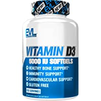 Evlution Nutrition Vitamin D3, 5000 IU High Potency, Bone and Joint Support, Heart and Immune System Health, Non-GMO and Gluten-Free, Value Size (120 Servings)