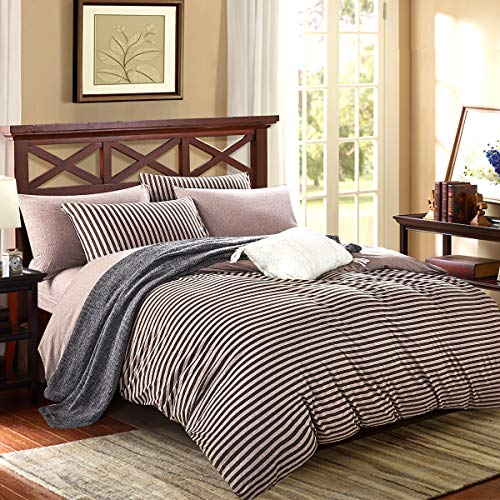 PURE ERA Striped Duvet Cover Set Cotton Jersey Knit Ultra Soft Home Bedding Collection 3 Pieces 1 Comforter Cover and 2 Pillow Shams Dark Brown Queen