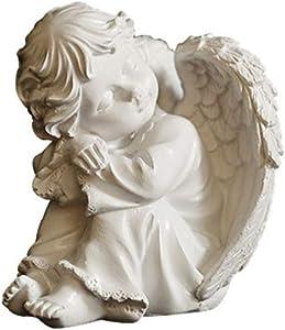 Resin Praying Angel Figurine, Guardian Sleeping Angel Praying Statue for Home Garden Decoration (Cherub Left(121110cm))