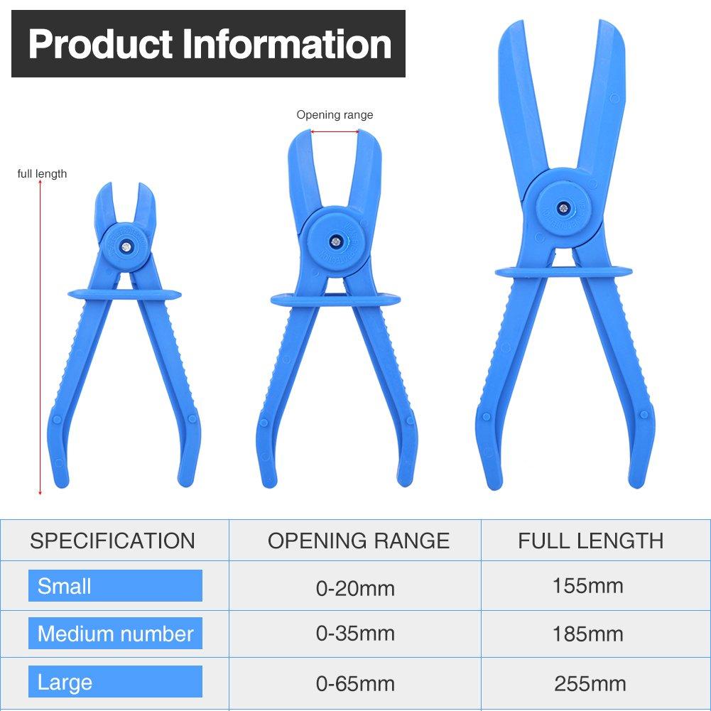 Qiilu 3Pcs Plastic Flexible Hose Clamp Tool Set Brake Fuel Water Line Clamps Plier Kit (Blue) by Qiilu (Image #6)