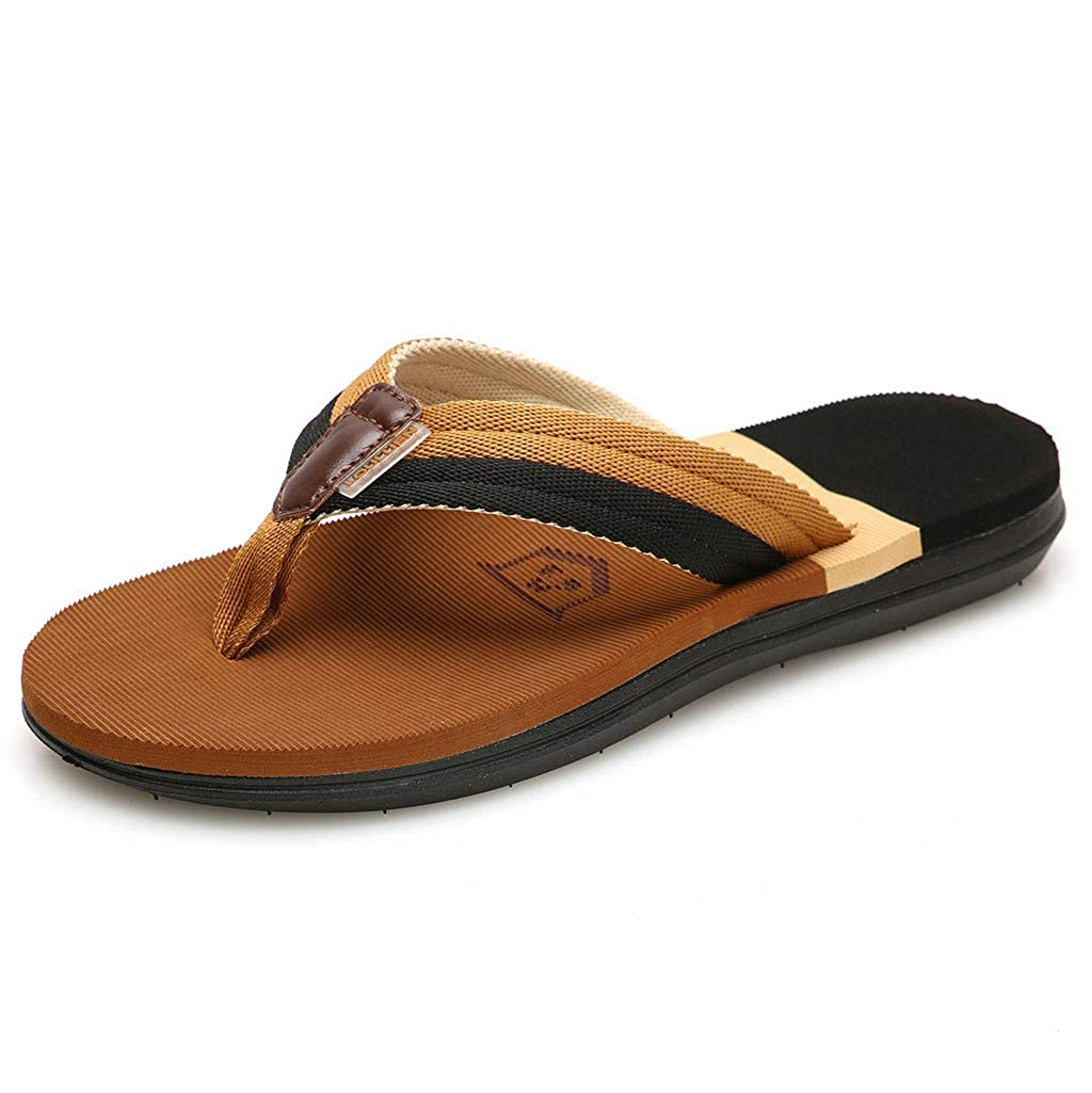 HTHJSCO Mens Flip-Flops Thongs Sandals Comfort Slippers Beach Shoes Outdoor Antiskid Shoes