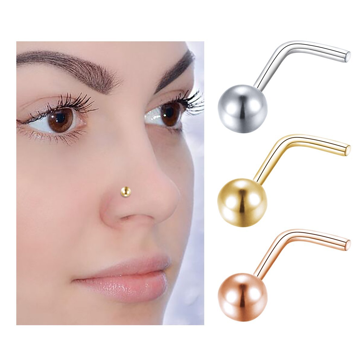 L Shape Nose Stud 20G Sterling Silver 3mm Ball Shape Nose Ring Piercing Body Jewelry (0.8mm)