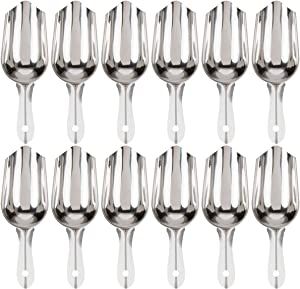 (Set of 12) Stainless Steel Ice Scoop, 5-Ounce Bar Scoop by Tezzorio, Small Metal Ice Scoop, Commercial Grade Ice Scoops/Bartender Supplies