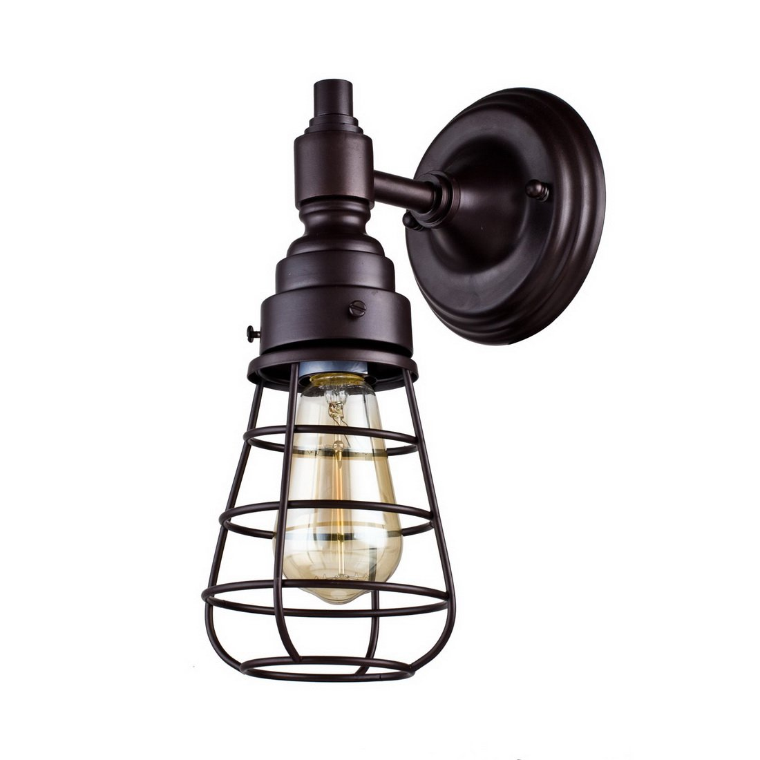 AXILAND Industrial Mini Wire Cage Wall Sconce 1 Light Simplicity Lamp, Oil Rubbed Bronze
