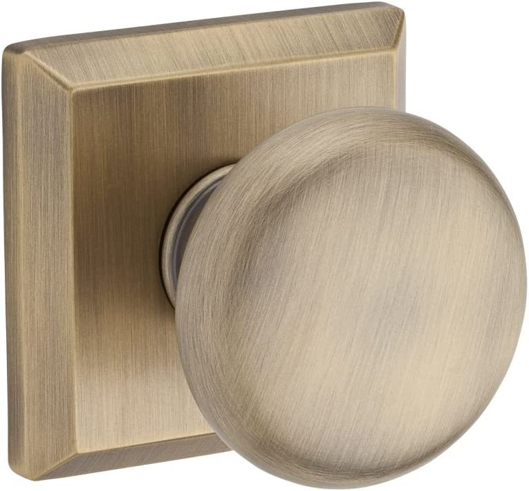 Baldwin PVROUTSR049 Reserve Privacy Round with Traditional Square Rose in Matte Brass & Black Finish
