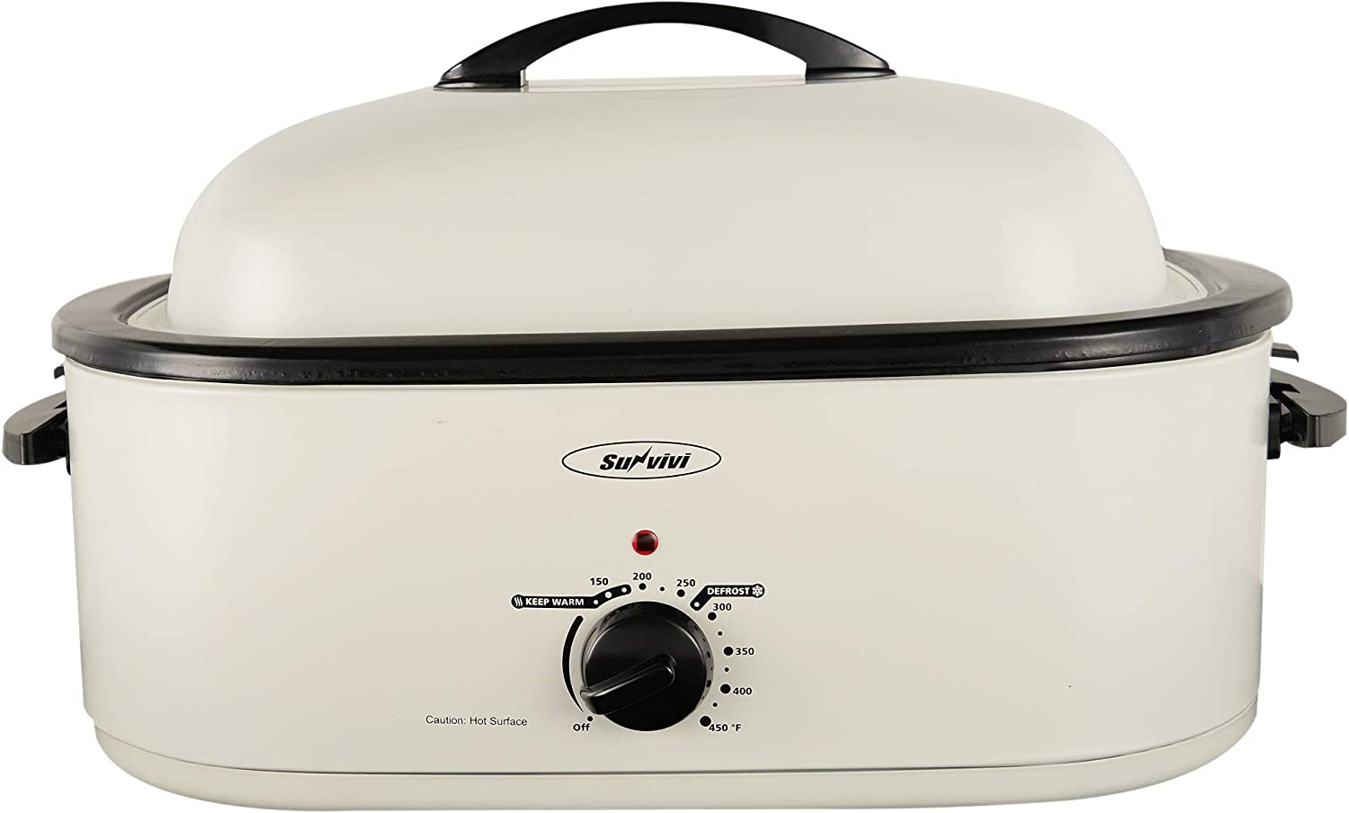 Roaster Oven 18 Quart with Self-Basting Lid Adjustable Temperature Control Powerful 1450W Stainless Steel Roaster Oven White Turkey Roaster Oven with Removable Pan and Rack Roaster Oven Electric