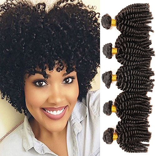 Aliglossy Afro hair Mongolian afro kinky curly hair, 3 bundles 100% Unprocessed 8A Human Hair Bundles Virgin Hair Short Hairstyles Funmi Hair Extensions Natrual color 100G/PC (10 10 10) (Best Kinky Curly Hair)