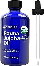 Radha Beauty USDA Certified Organic Jojoba Oil, 4 fl oz. -