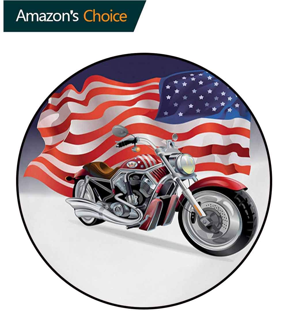 RUGSMAT Manly Carpet Gray Round Area Rug,Motorbike and Us Flag Sports Automobile Shows Motorcyclist Powerful Vehicles Passion Pattern Floor Seat Pad Home Decorative Indoor,Diameter-71 Inch by RUGSMAT (Image #2)