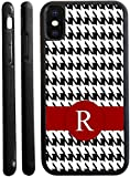Rikki Knight Letter R Burgundy Houndstooth Monogram Design iPhone X Hybrid TPU Case Cover (Black Rubber with Front Bumper Protection) for iPhone X