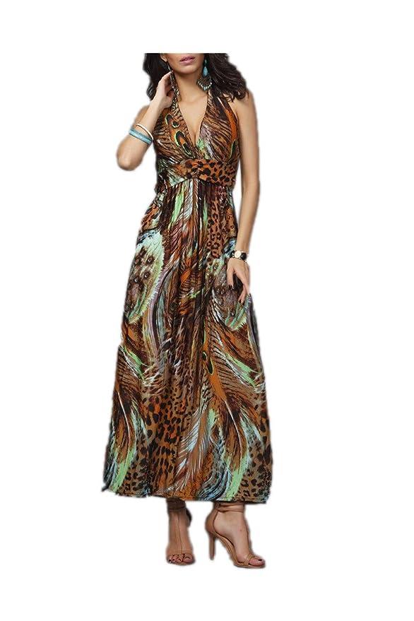 Amazon.com: Snmk NEW primavera e verão moda praia vestido de leopardo vestido boêmio esfregar tamanho grande de seda gelo 410S05 das mulheres das mulheres: ...