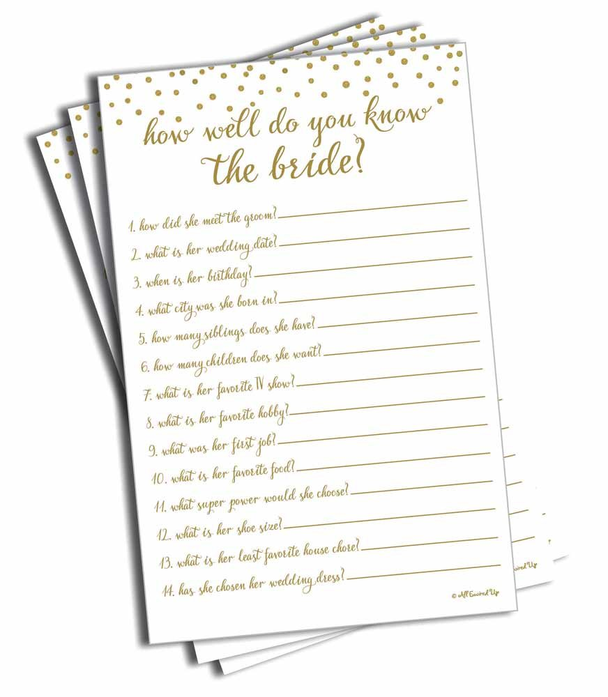 How Well Do You Know the Bride - Gold Confetti (50-sheets) (Large Size Sheets)