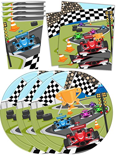 Race Car Racing Birthday Party Supplies Set Plates Napkins Cups Tableware Kit for 16 (Race Car Plates compare prices)