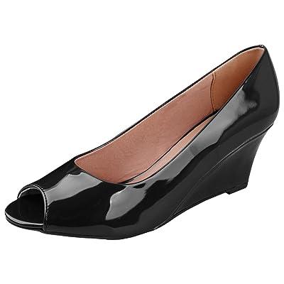 Forever Link Women's DORIS-23 Faux Leather Mid Heel Round Toe Wedge Pumps Black 8 | Pumps