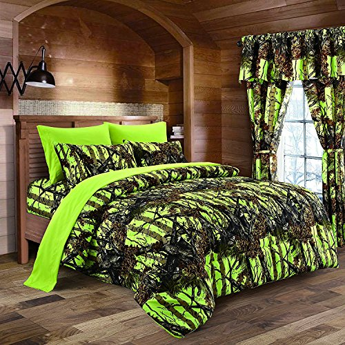 The Woods Neon Green Lime Camo 6pc Set, Flat Sheet, Fitted Sheet, & 4 Pillowcase Set (Queen, Neon Green) (Oak Bed For Sets Girls Mossy)