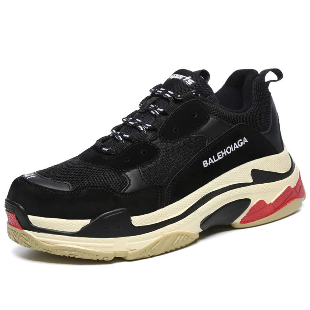 YR-R Zapatillas De Deporte Para Damas Zapatillas De Deporte Para Parejas Zapatillas De Deporte Con Cordones Planos De Senderismo Al Aire Libre Calzado Respirable 44|Black