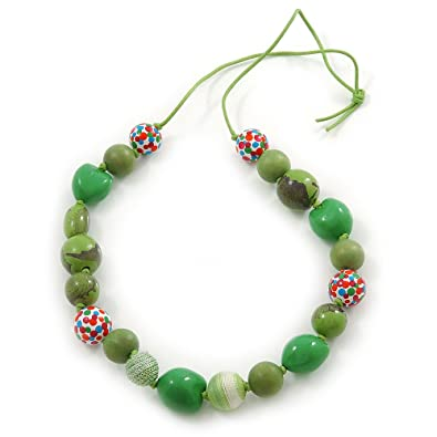 Avalaya Grass Green, Olive Wood and Cotton Bead Cord Necklace - 88cm L
